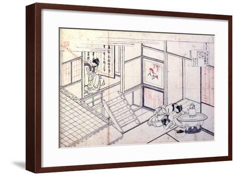 From the Series Hundred Poems by One Hundred Poets: Shikishi Naishinno, C1830-Katsushika Hokusai-Framed Art Print