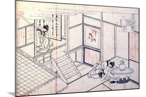 From the Series Hundred Poems by One Hundred Poets: Shikishi Naishinno, C1830-Katsushika Hokusai-Mounted Giclee Print