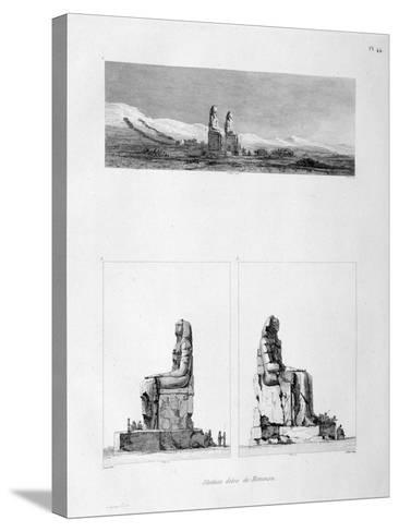 Statues of Memnon, Thebes, Egypt, C1808-L Petit-Stretched Canvas Print