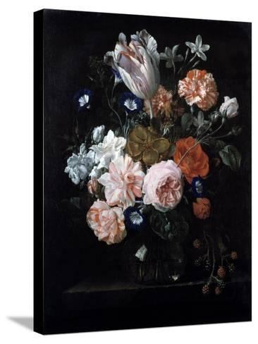 A Tulip, Carnations, and Morning Glory in a Glass Vase, 17th Century-Nicolaes van Veerendael-Stretched Canvas Print