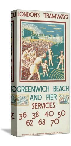 Greenwich Beach and Pier, London County Council (Lc) Tramways Poster, 1925-Morris Kestelman-Stretched Canvas Print