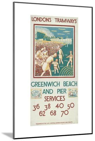 Greenwich Beach and Pier, London County Council (Lc) Tramways Poster, 1925-Morris Kestelman-Mounted Giclee Print