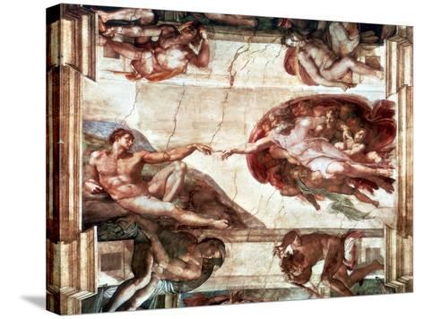 Creation of Adam, 1508-1512-Michelangelo Buonarroti-Stretched Canvas Print