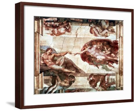 Creation of Adam, 1508-1512-Michelangelo Buonarroti-Framed Art Print