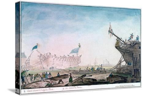 Launching a Ship at Brest, C1750-1810-Nicolas Marie Ozanne-Stretched Canvas Print
