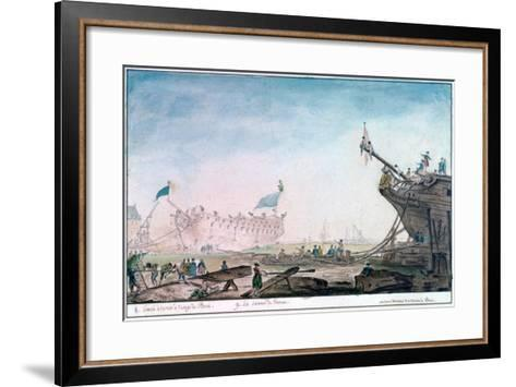 Launching a Ship at Brest, C1750-1810-Nicolas Marie Ozanne-Framed Art Print