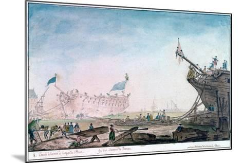 Launching a Ship at Brest, C1750-1810-Nicolas Marie Ozanne-Mounted Giclee Print