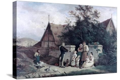 The Fiddler of the Village, 1845-Ludwig Richter-Stretched Canvas Print