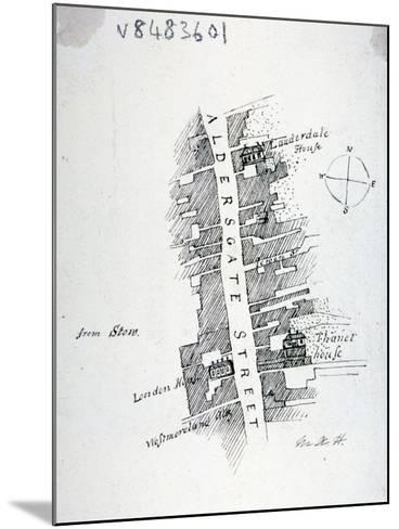 Aldersgate Street, London, C1800-Mary Anne Hedger-Mounted Giclee Print