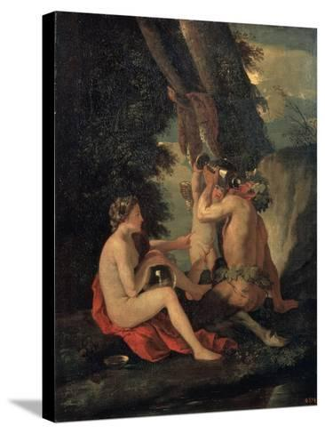 Satyr and Nymph, C.1630-Nicolas Poussin-Stretched Canvas Print