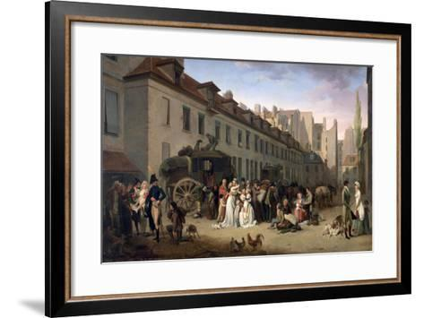 The Arrival of a Stagecoach at the Terminus, Rue Notre-Dame-Des-Victoires, Paris, 1803-Louis Leopold Boilly-Framed Art Print