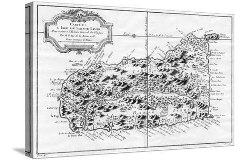 A Map of St Lucia, the West Indies, 1758-N Bellun-Stretched Canvas Print