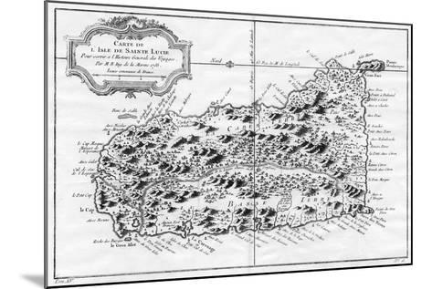 A Map of St Lucia, the West Indies, 1758-N Bellun-Mounted Giclee Print