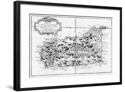 A Map of St Lucia, the West Indies, 1758-N Bellun-Framed Art Print