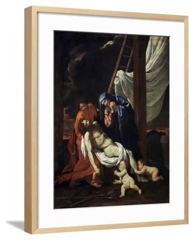 The Descent from the Cross, 1620s-Nicolas Poussin-Framed Art Print