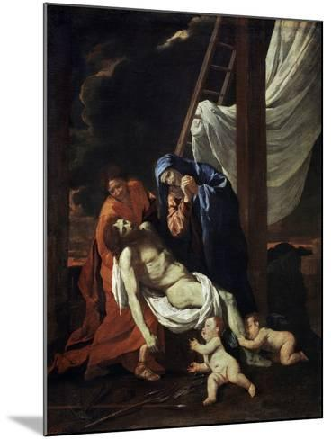 The Descent from the Cross, 1620s-Nicolas Poussin-Mounted Giclee Print