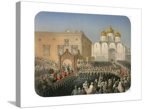 Procession of Of Tsarina Alexandra Feodorovna to the Cathedral of the Dormition, Moscow, 1856-Mihály Zichy-Stretched Canvas Print