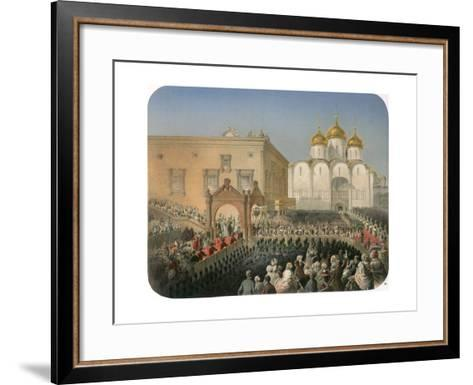 Procession of Of Tsarina Alexandra Feodorovna to the Cathedral of the Dormition, Moscow, 1856-Mihály Zichy-Framed Art Print