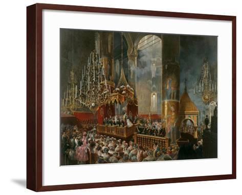 The Crowning of Tsarina Maria Alexandrovna of Russia, Moscow, 1856-Mihály Zichy-Framed Art Print