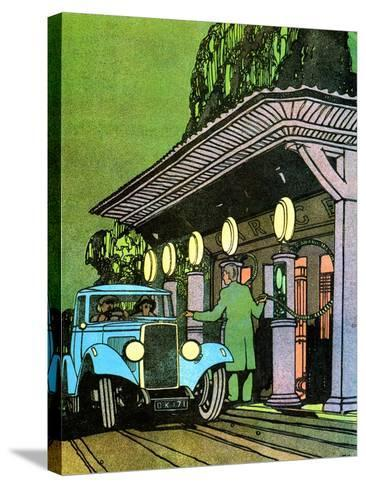 At a Filling Station, C1930-Leslie Carr-Stretched Canvas Print