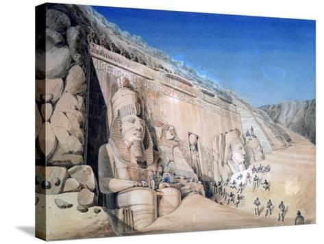 Excavation of the Great Temple of Ramesses II, Abu Simbel, 1819-Louis M. A. Linant de Bellefonds-Stretched Canvas Print
