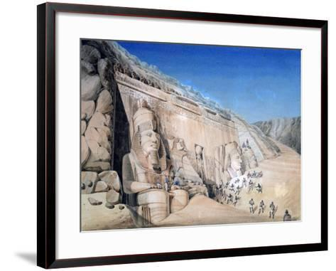 Excavation of the Great Temple of Ramesses II, Abu Simbel, 1819-Louis M. A. Linant de Bellefonds-Framed Art Print