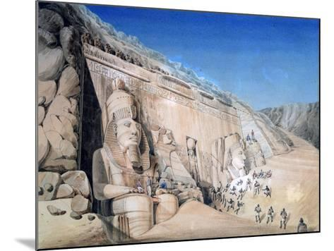 Excavation of the Great Temple of Ramesses II, Abu Simbel, 1819-Louis M. A. Linant de Bellefonds-Mounted Giclee Print