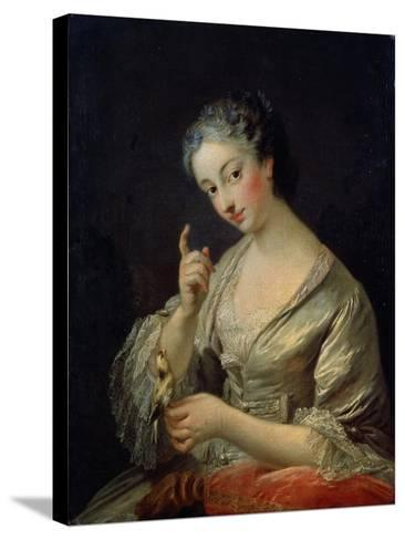 Lady with a Bird, 18th Century-Louis Michel Van Loo-Stretched Canvas Print