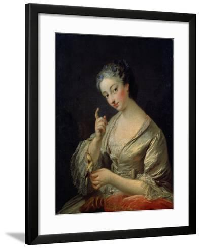 Lady with a Bird, 18th Century-Louis Michel Van Loo-Framed Art Print