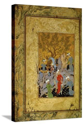 A Princely Hawking Party in the Mountains, C1575-Mirza Ali-Stretched Canvas Print