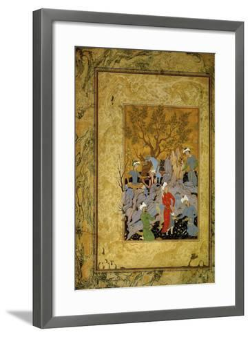 A Princely Hawking Party in the Mountains, C1575-Mirza Ali-Framed Art Print