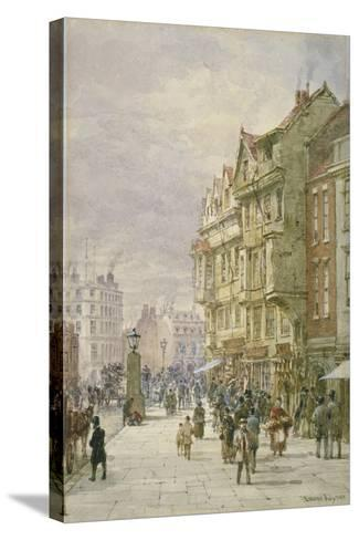 View East Along Holborn with Figures and Horse-Drawn Vehicles on the Street, London, 1875-Louise Rayner-Stretched Canvas Print
