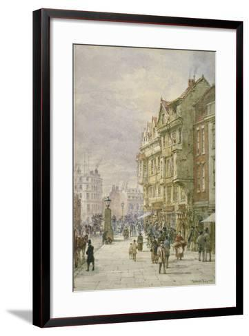 View East Along Holborn with Figures and Horse-Drawn Vehicles on the Street, London, 1875-Louise Rayner-Framed Art Print