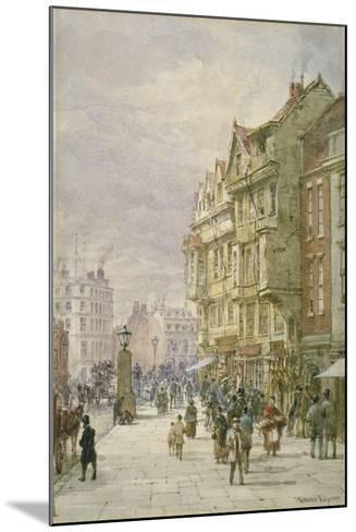 View East Along Holborn with Figures and Horse-Drawn Vehicles on the Street, London, 1875-Louise Rayner-Mounted Giclee Print
