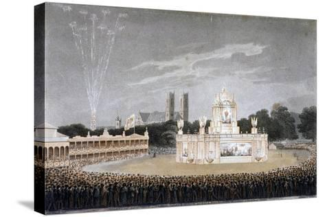 Firework Display in Green Park, Westminster, London, 1814-Matthew Dubourg-Stretched Canvas Print