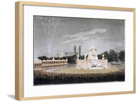 Firework Display in Green Park, Westminster, London, 1814-Matthew Dubourg-Framed Art Print
