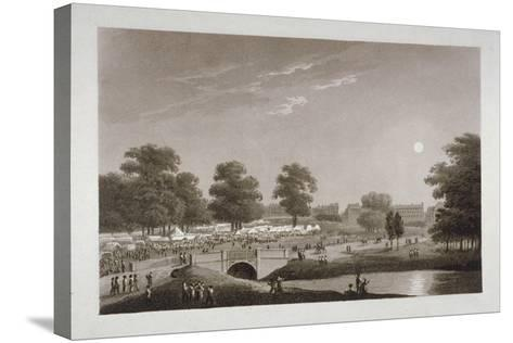 View of the Serpentine and Hyde Park, London, 1814-Matthew Dubourg-Stretched Canvas Print