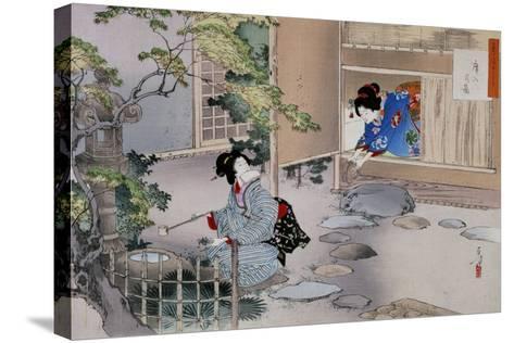 The Entrance to the Tea Rooms, C1886-1908-Mizuno Toshikata-Stretched Canvas Print