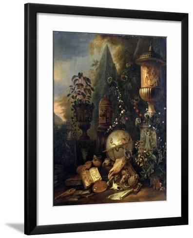 Vanitas, Still Life with a Vase, 17th or Early 18th Century-Matthias Withoos-Framed Art Print