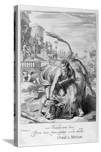 Achelous in the Shape of a Bull Is Vanquished by Hercules, 1655-Michel de Marolles-Stretched Canvas Print