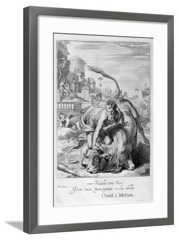 Achelous in the Shape of a Bull Is Vanquished by Hercules, 1655-Michel de Marolles-Framed Art Print