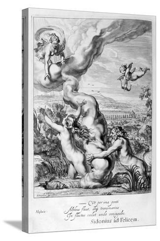 Arethusa Pursued by Alpheus and Turned into a Fountain, 1655-Michel de Marolles-Stretched Canvas Print