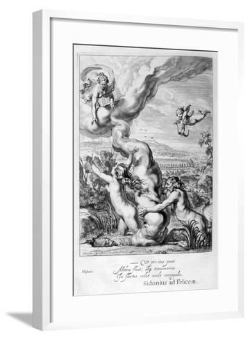 Arethusa Pursued by Alpheus and Turned into a Fountain, 1655-Michel de Marolles-Framed Art Print