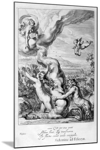 Arethusa Pursued by Alpheus and Turned into a Fountain, 1655-Michel de Marolles-Mounted Giclee Print