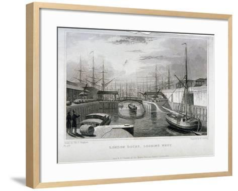 View of London Docks Looking West, Wapping, 1831-MJ Starling-Framed Art Print