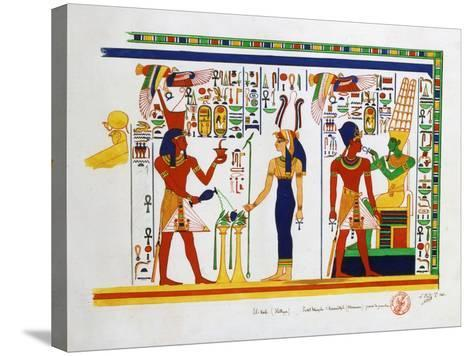 Mural from El-Kab, Egypt, 1841-Nestor l'Hote-Stretched Canvas Print