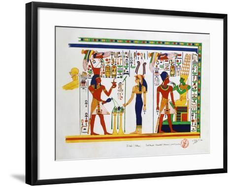 Mural from El-Kab, Egypt, 1841-Nestor l'Hote-Framed Art Print