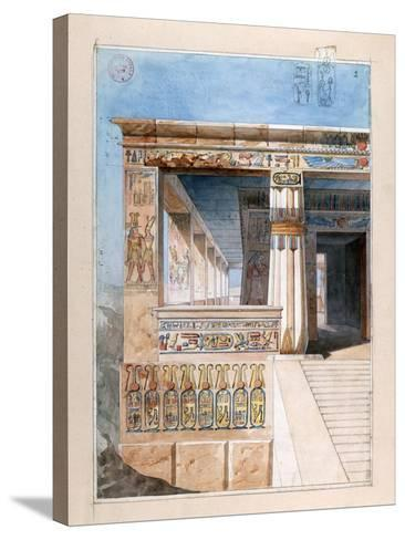 Ancient Egyptian Temple, 19th Century-Nestor l'Hote-Stretched Canvas Print