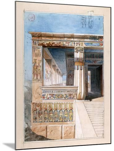 Ancient Egyptian Temple, 19th Century-Nestor l'Hote-Mounted Giclee Print
