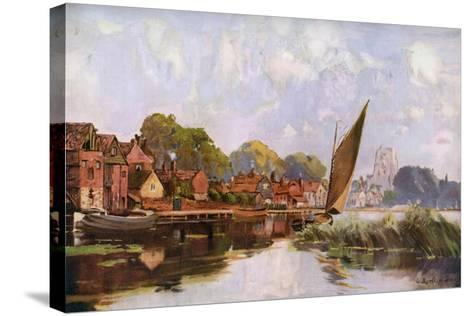 On the River at Beccles, Suffolk, 1924-1926-Louis Burleigh Bruhl-Stretched Canvas Print